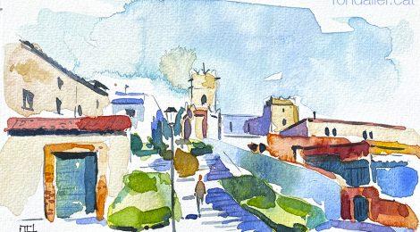 Aquarel·la d'Argentona, amb l'església gòtica de Sant Julià al fons.