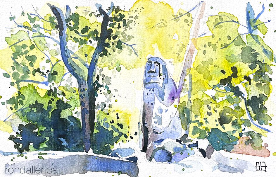 Aquarel·la de l'escultura d'un moai al Bosc Màgic d'Òrrius, dins el terme de La Roca del Vallès.