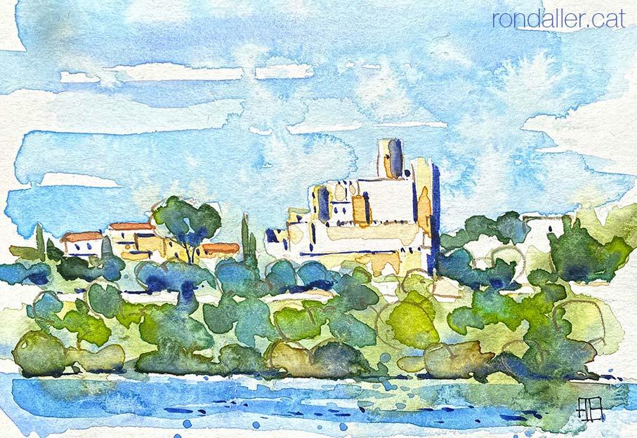 Aquarel·la amb una panoràmica de Castellet i la Gornal a l'Alt Penedès.