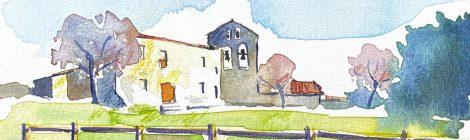 Aquarel·la de l'església de Sant Pere de Castellet, a l'Alt Penedès.