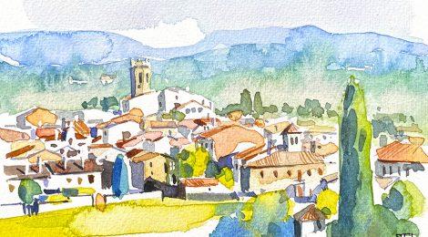 Aquarel·la amb una panoràmica de Castellterçol, al Moianès, Vallès Oriental.