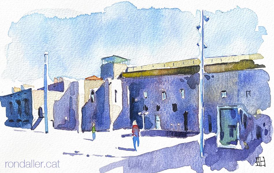 Aquarel·la del Convent dels Àngels de Barcelona, que actualment acull la secció d'audiovisuals del MACBA.