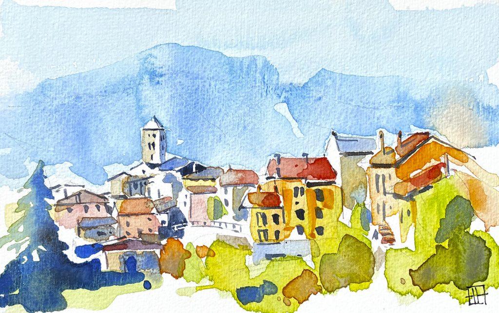 Aquarel·la del poble d'Espinelves a Osona, amb el campanar de l'església de Sant Vicenç.