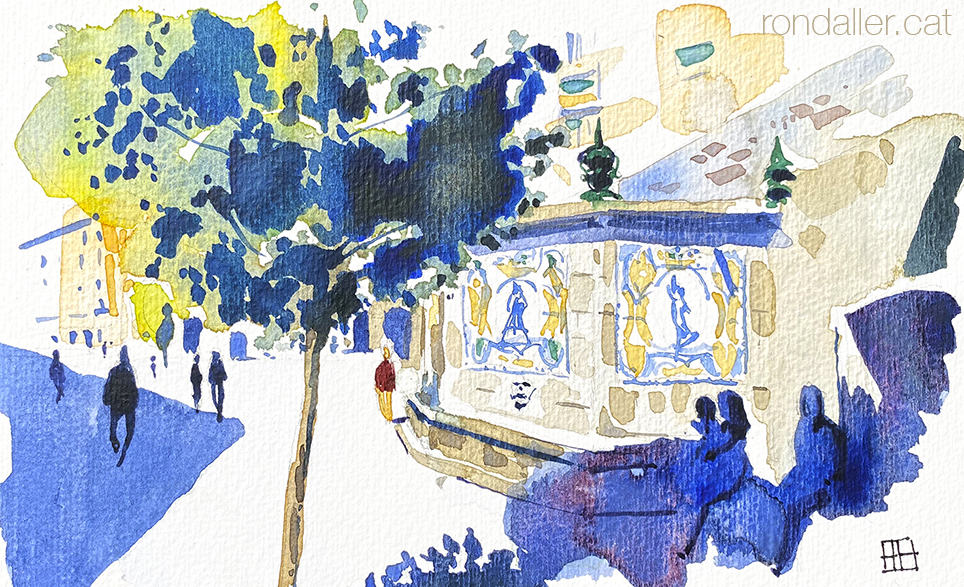 Aquarel·la de la font de Santa Anna amb plafons ceràmics noucentistes realitzats per Josep Aragay.