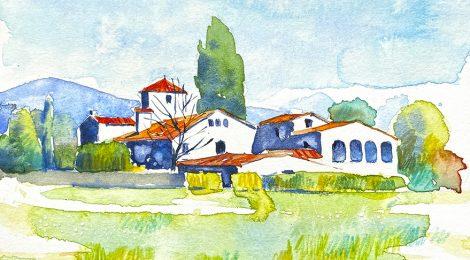 Aquarel·la de la masia de Can Comes a Lliçà d'Amunt, al Vallès Oriental.