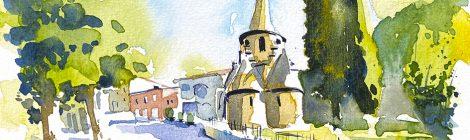 Aquarel·la de la capella modernista de Sant Miquel de la Roqueta a Ripoll.