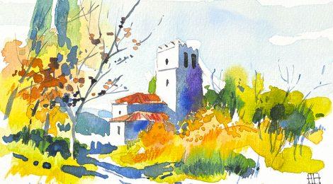 Aquarel·la de l'església de Sant Esteve del Coll, dins el terme de Llinars del Vallès, al Vallès Oriental.