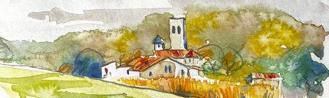 Aquarel·la de l'església de Sant Esteve de Palaudàries, dins el municipi de Lliçà d'Amunt, al Vallès Oriental.