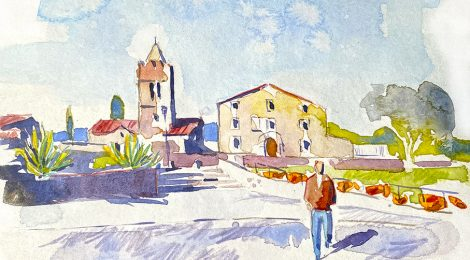 Aquarel·la de l'església de Sant Julià d'Alfou, dins el municipi de Sant Antoni de Vilamajor, al Vallès Oriental