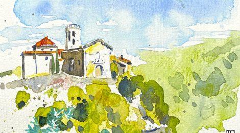 Aquarel·la de l'església romànica de Santa Maria a Sant Martí Sarroca (Alt Penedès).