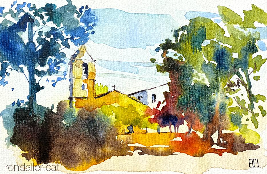 Aquarel·la del santuari de Santa Afra, al veïnat de Ginestar, situat a la Vall de Llémena, dins el terme de Sant Gregori (Gironès).