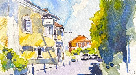 Aquarel·la del carrer Almeida Garrett de Sintra amb l'Hotel Lawrence en primer terme.