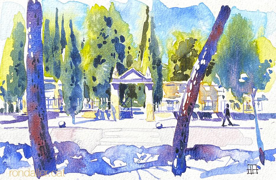 Aquarel·la de l'entrada del cementiri de Vilafranca del Penedès, a l'Alt Penedès.
