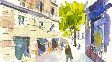 Aquarel·la del carrer Jerusalem al barri del Raval de Barcelona.