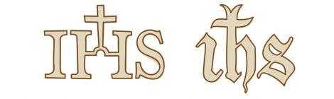 Croquis de la primera evolució del monograma IHS.
