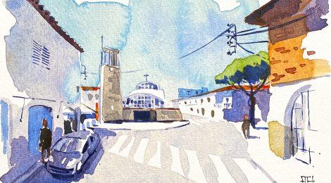 Aquarel·la de l'església de la Sagrada Família al barri dels Pins de Blanes.
