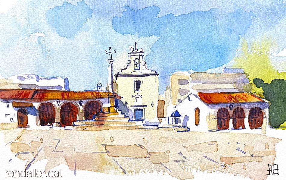 Aquarel·la de la plaça de les sitges de Burjassot, amb l'ermita de Sant Roc.
