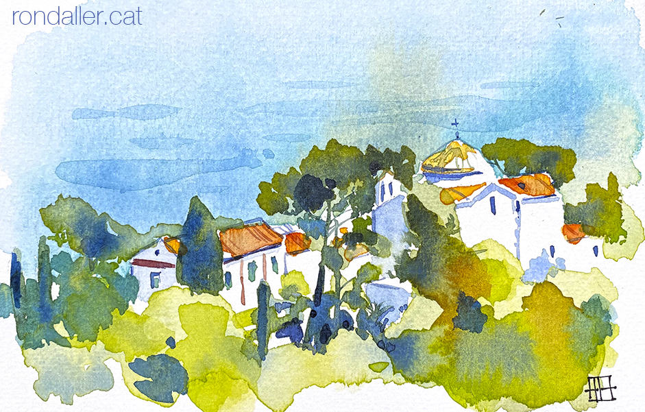 Aquarel·la amb una panoràmica de l'ermita de Santa Cristina de Lloret de Mar (La Selva).