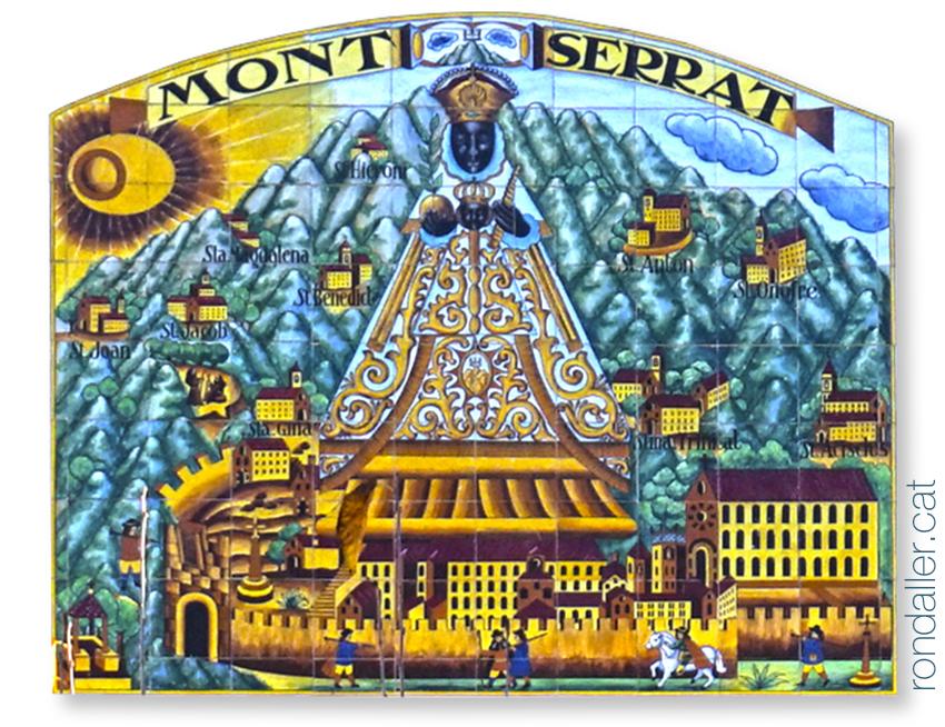 Mare de Déu de Montserrat. Plafó ceràmic a Mollet del Vallès.