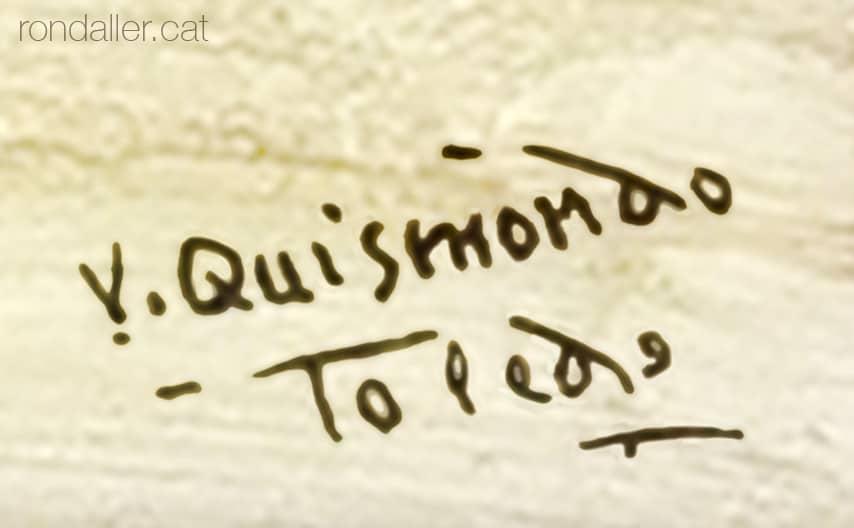Detall de la signatura del ceramista Vicente Quismondo.