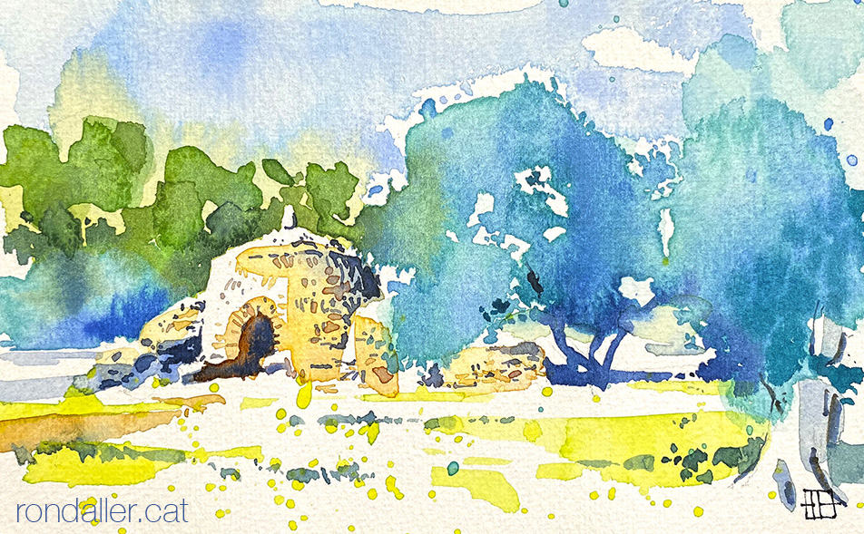 Aquarel·la d'una cabana de pedra seca a l'Alt Camp.