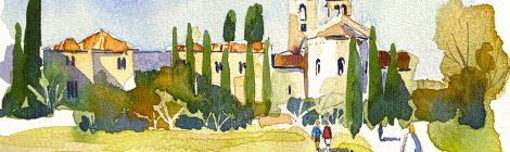 Aquarel·la del monestir romànic de Sant Benet de Bages,