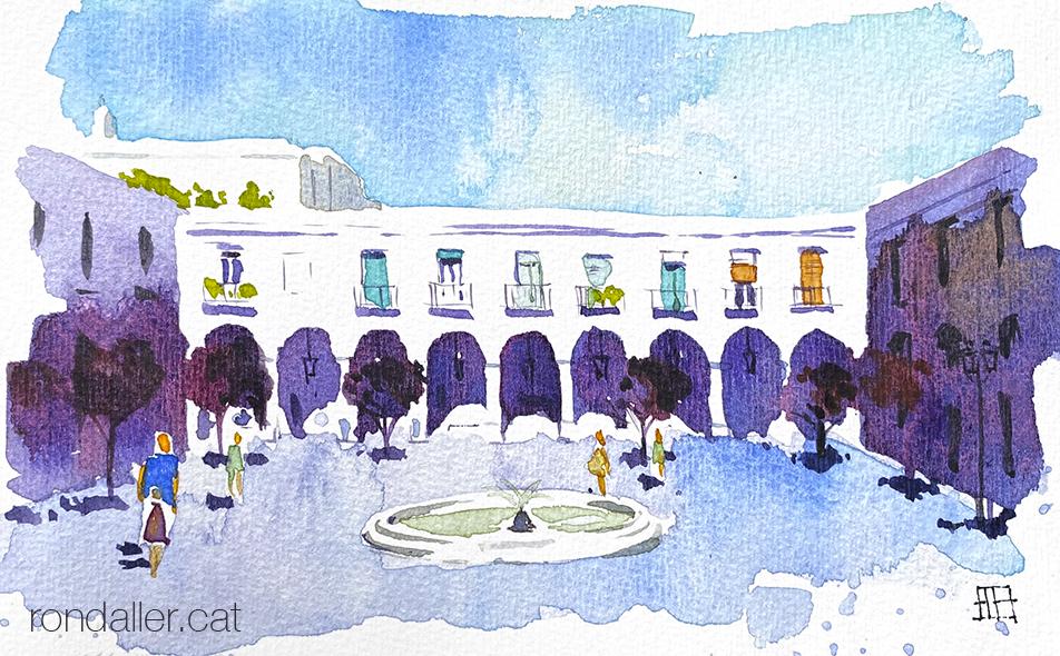 Aquarel·la de la plaça Masadas al barri de La Sagrera de Barcelona.