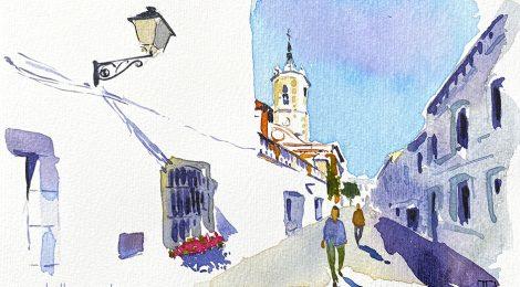 Aquarel·la on es veu el campanar de l'església de Sant Joan de Vilassar de Mar, al Maresme.