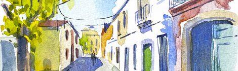 Aquarel·la del carrer del Roser de Vilassar de Mar.