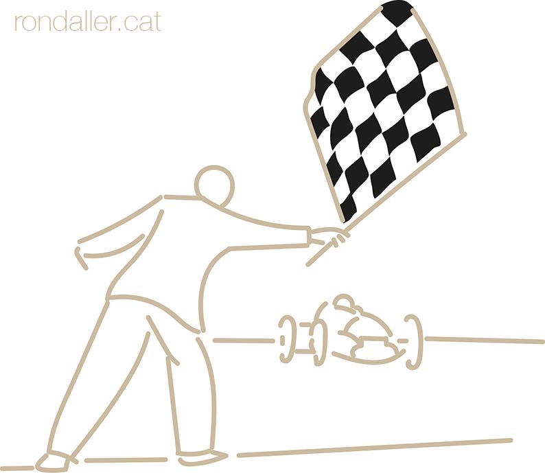 Significat del motiu escacat. Dibuix amb la bandera d'arribada en una cursa històrica de vehicles.