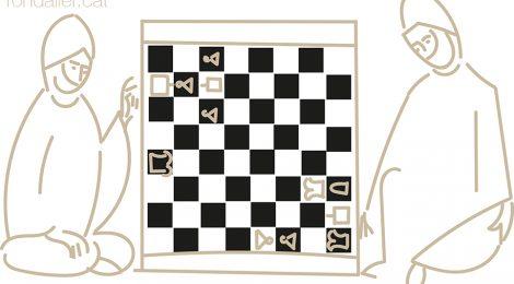 Detall d'una miniatura medieval on dos musulmans juguen a escacs.