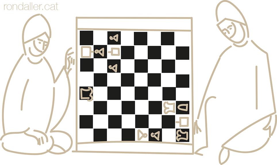 El significat del motiu escacat. Detall d'una miniatura medieval on dos musulmans juguen a escacs.
