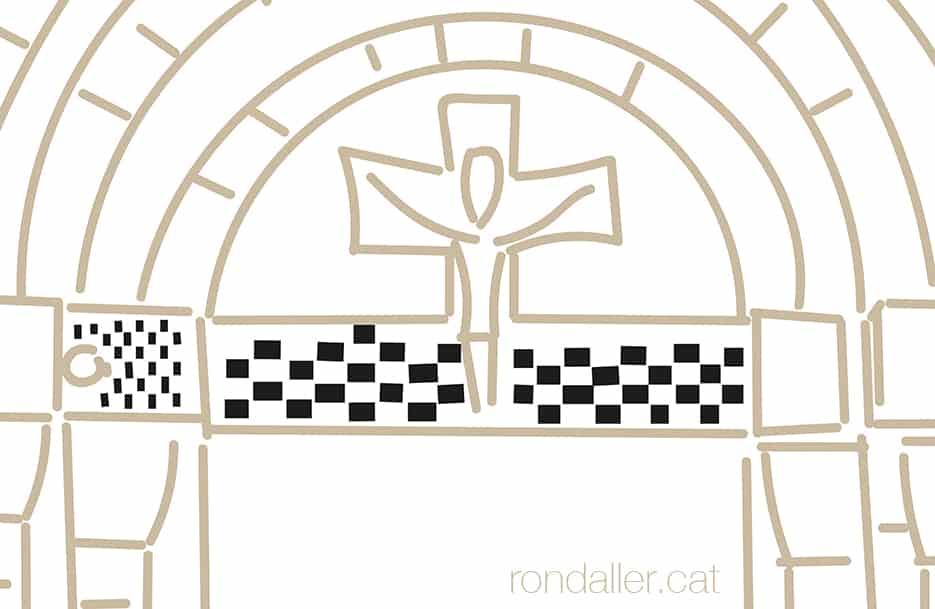 Dibuix de la portalada de l'església romànica de Sant Pèir d'Escunhau a la Vall d'Aran.