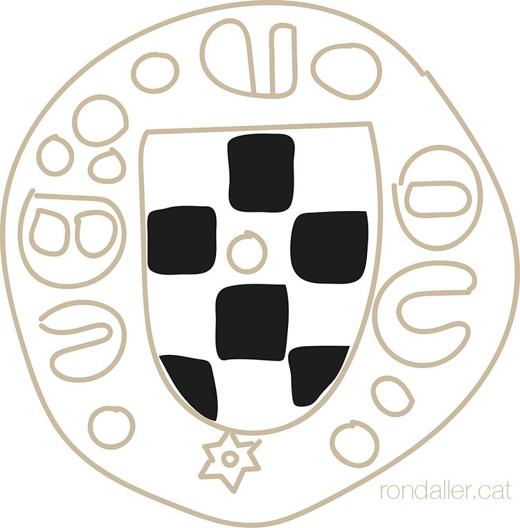 Dibuix d'una moneda del segle XIV del Comtat d'Urgell, pertanyent a Teresa d'Entença.