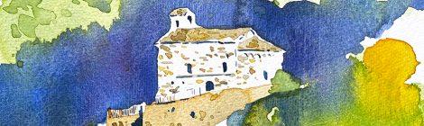 Aquarel·la del santuari romànic de la Mare de Déu d'Arboló, al Pallars Sobirà.