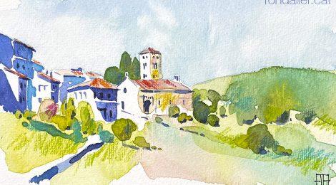 Aquarel·la de l'església romànica de Santa Cecília de Molló.