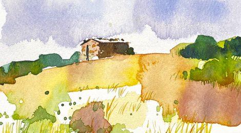Aquarel·la de la Barraca d'en Ramon, al Pla de la Calma del Montseny.
