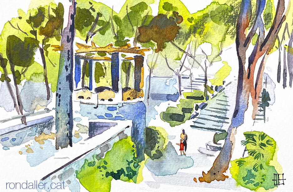 Aquarel·la del Parc de les Set Fonts de Sant Julià de Vilatorta.