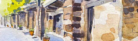 Aquarel·la de la porxada de la plaça de l'Església de Torà.