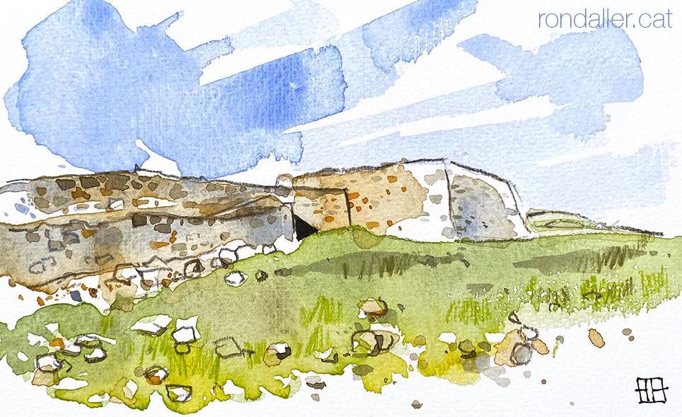 Aquarel·la de la fortificació ibera del Turó de Montgròs al Montseny.