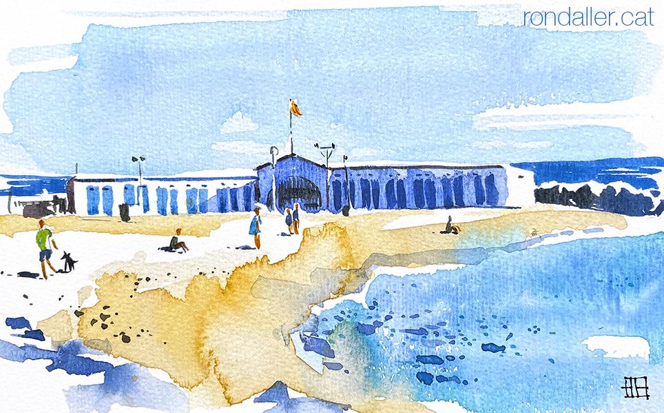 Aquarel·la del port de pescadors de Vilassar de Mar.