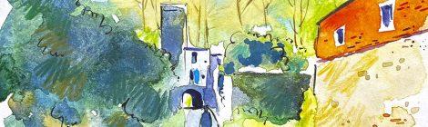 Aquarel·la del molí de Benages i el palau dels comtes de Berenguer a Bescanó.
