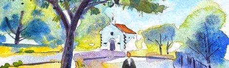 Aquarel·la de l'ermita de Sant Sebastià, davant del cementiri de Cabrera de Mar.
