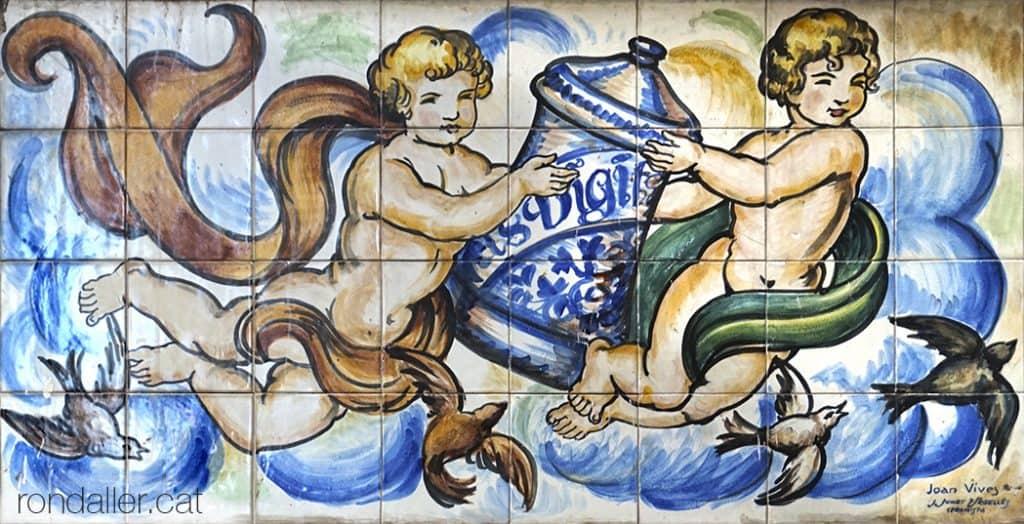 Plafó ceràmic noucentista realitzat per Salvador Sunet Urgellès.
