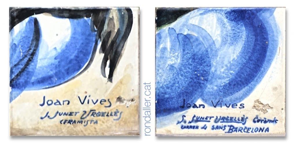 Detall d'una rajola amb la signatura del ceramista Salvador Sunet Urgellès.