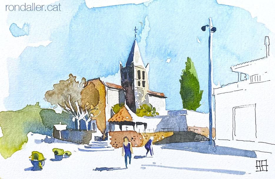 Aquarel·la de l'església de Sant Andreu d'Estanyol al municipi de Bescanó.