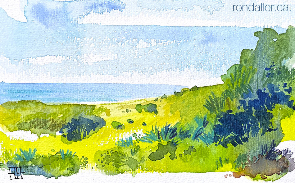 Aquarel·la del paisatge que es veu durant la ruta de la Pleta a la Morella, al Parc Natural del Garraf.