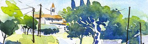 Aquarel·la de Gaserans, amb l'església de Sant Llorenç, dins el terme de Sant Feliu de Buixalleu.