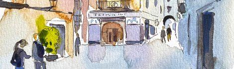 Aquarel·la de la plaça de les Castanyes de Girona, amb la farmàcia Plana al fons.
