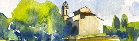 Aquarel·la de la part posterior de l'església de Sant Pere de Martorell de la Selva.